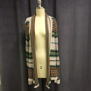 Billabong Striped Cardigan Sweater L Knit Light